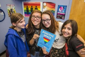 Students Charlotte Sulek 12, Nara Wrigglesworth, 13, Stella Racca, 13, and Irina Babayan,12, are members of the gay-straight alliance of Westwood Middle School, and they meet in the school's Positive Space area together. The need for these bully-free zones has been proven by the Toronto District School Board's detailed student survey. - See more at: http://hiiraan.com/news4/2014/Oct/66835/toronto_school_board_sets_higher_improvement_targets_for_students_based_on_race_sexual_orientation.aspx#sthash.LUCrXv1Z.dpuf
