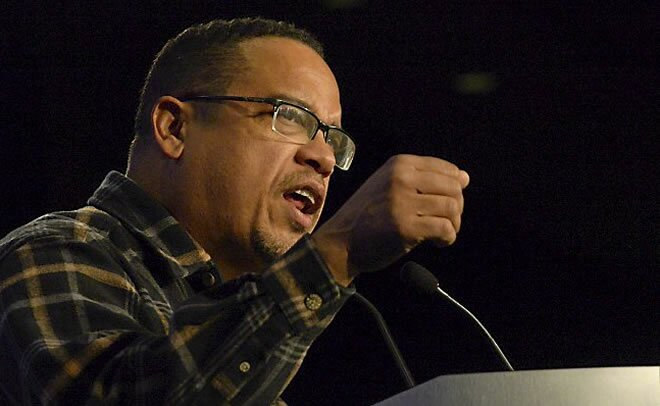 Rep. Keith Ellison fires up the crowd at the DFL headquarters at the Minneapolis Hilton Hotel on Tuesday, Nov. 4, 2014. (Pioneer Press: John Autey)