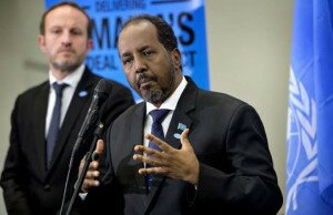 Somalia's President Hassan Sheikh Mohamud (R) and Denmark's Minister for Foreign Affairs, Martin Lidegaard attend a news conference at the High Level Partnership Forum (HLPF) on Somalia in Copenhagen November 19, 2014. CREDIT: REUTERS/KELD NAVNTOFT/SCANPIX DENMAR