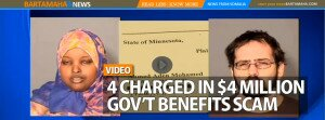 Minnesota 4 CHARGED IN $4 MILLION GOV'T  BENEFITS SCAM