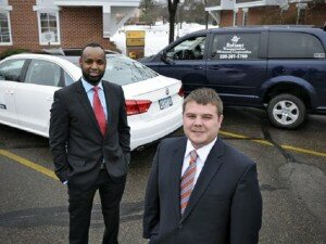 Dool Salat (left) and Ben Warne have worked together to start Reliant Transportation, a non-emergency medical transportation company serving the seven-county area. (Photo: Jason Wachter, jwachter@stcloudtimes.com PHOTOS)